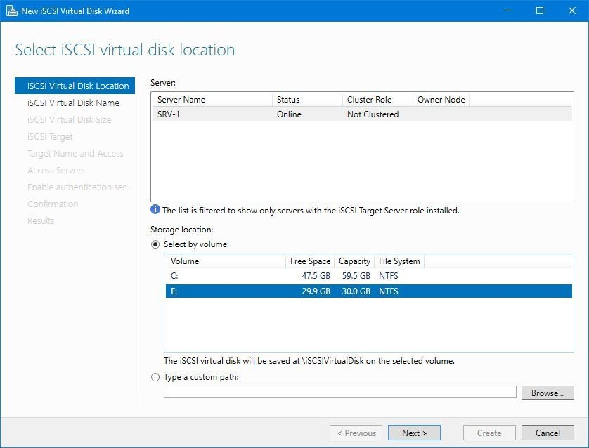 Select iSCSI virtual disk location