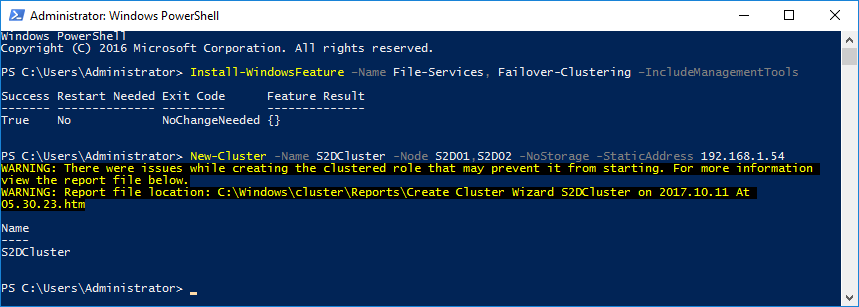 PowerShell window - Create the new cluster