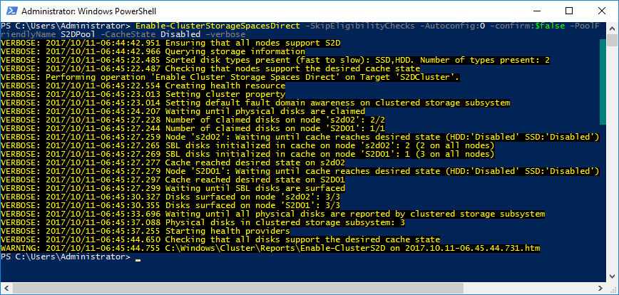 PowerShell window - Enable Storage Spaces Direct