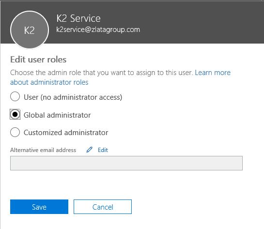 K2 Service - Edit user roles