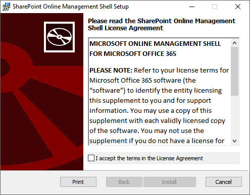 SharePoint Online Management Shell Setup - License Agreement