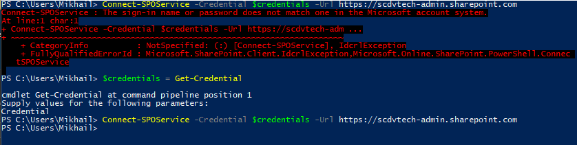 Windows PowerShell - #credentials - Connect-SPOService