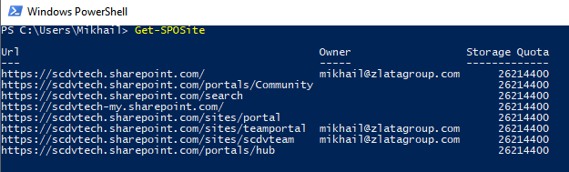 Windows PowerShell - Get-SPOSite