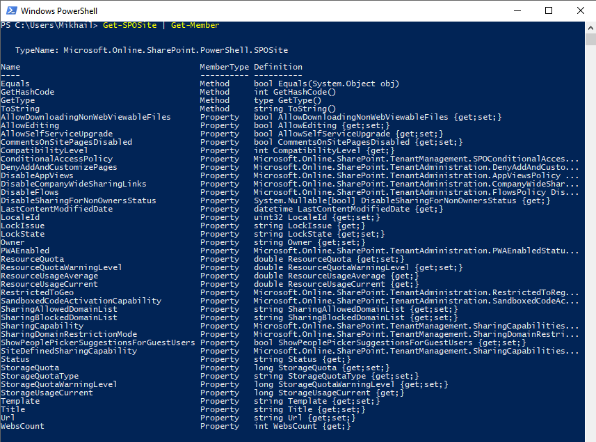 Windows PowerShell - Get-SPOSite - Get-Member