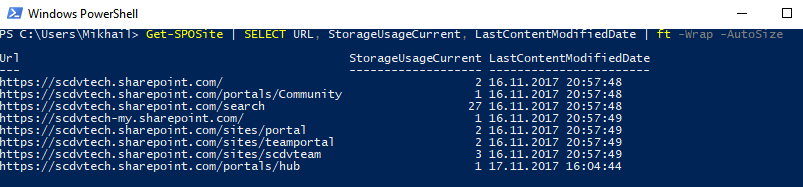 Windows PowerShell - Get-SPOSite - Select
