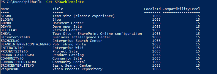 Windows PowerShell - Get-SPOWebTemplate