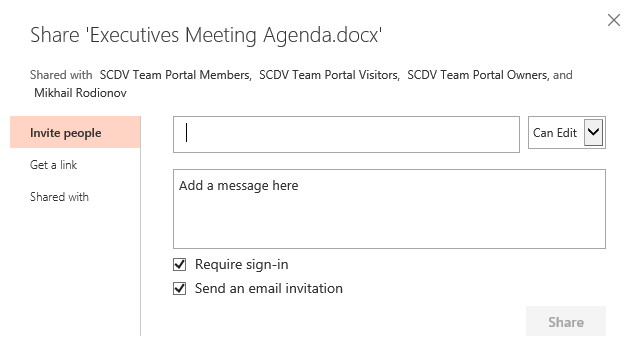 SharePoint Online - Share - Invite people