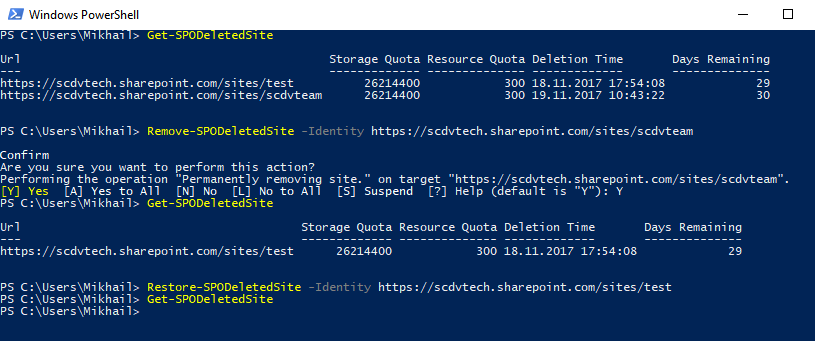 Windows PowerShell - Restore-SPODeleteSite