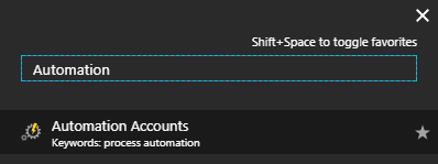 Microsoft Azure Portal - Automation Account
