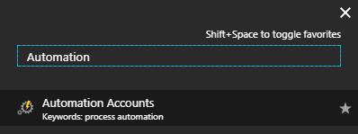 Microsoft Azure Portal - Automation Account