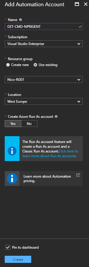Microsoft Azure Portal - Add Automation Account - Details