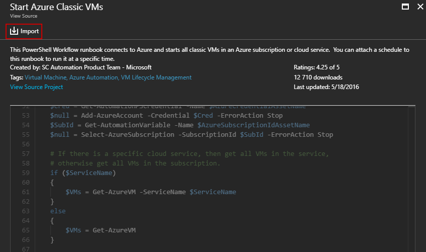 Start Azure Classic VMs - Import