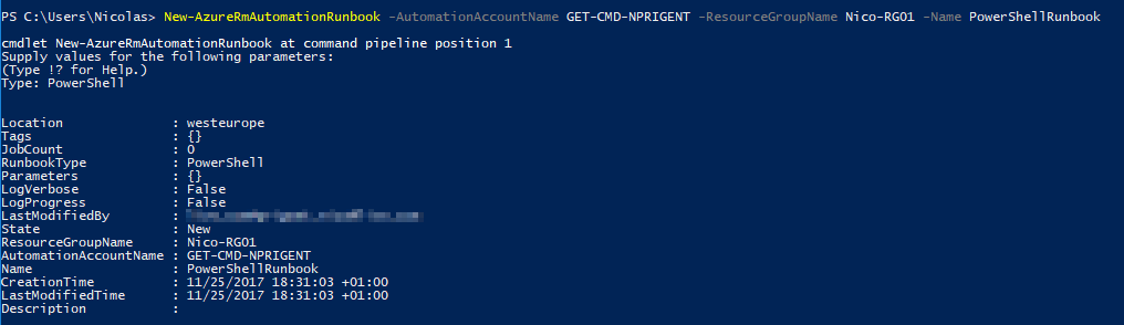 Microsoft Windows PowerShell - New-AzureRmAutomationRunbook