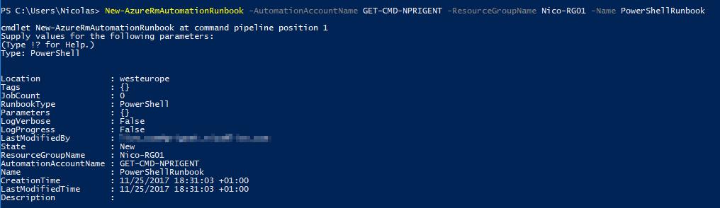 Microsoft Windows PowerShell - New-AzureRmAutomationRunbook