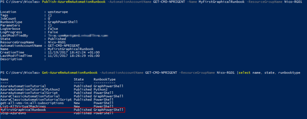 Microsoft Windows PowerShell - Publish-AzureRmAutomationRunbook