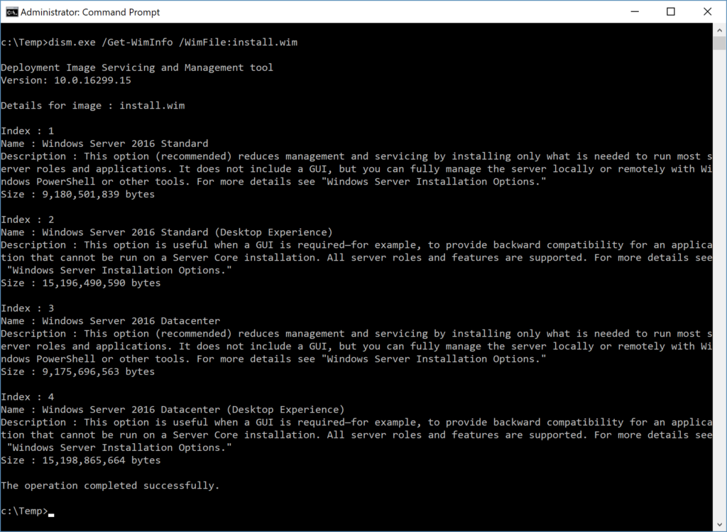 Administrator: Command Prompt - Details for install.wim