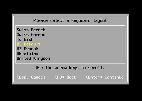 Selecting keyboard layout
