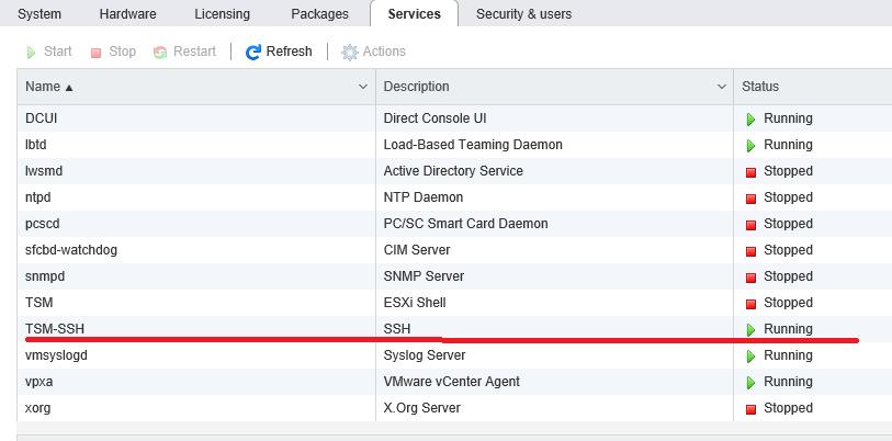 HOST - Manage - Services - SSH service