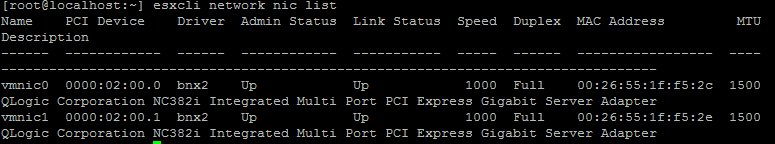 list for viewing network interfaces