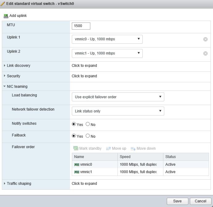 Edit standard virtual switch - vSwitch0