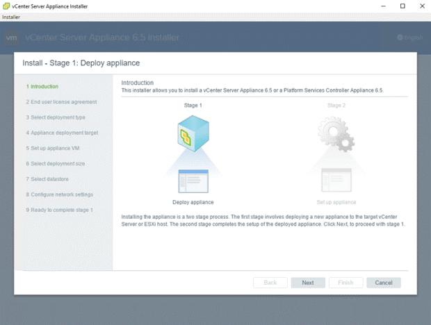VMware - vCenter Server Appliance 6.5 Installer - Install - Stage 1 - Deploy appliance