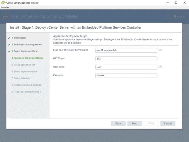 VMware - vCenter Server Appliance 6.5 Installer - Install - Stage 1 - Deploy vCenter Server with an Embedded Platform Services Controller - Appliance deployment target