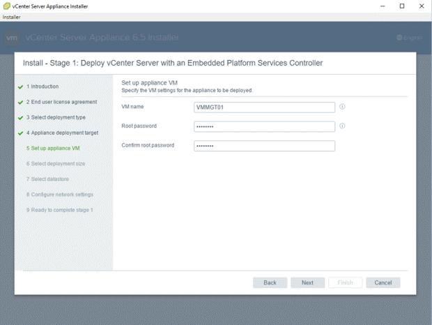 VMware - vCenter Server Appliance 6.5 Installer - Install - Stage 1 - Deploy vCenter Server with an Embedded Platform Services Controller - Set up appliance VM