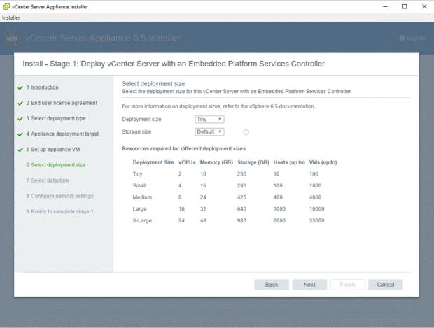 VMware - vCenter Server Appliance 6.5 Installer - Install - Stage 1 - Deploy vCenter Server with an Embedded Platform Services Controller - Select deployment size