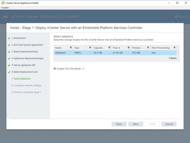 VMware - vCenter Server Appliance 6.5 Installer - Install - Stage 1 - Deploy vCenter Server with an Embedded Platform Services Controller - Select Datastore