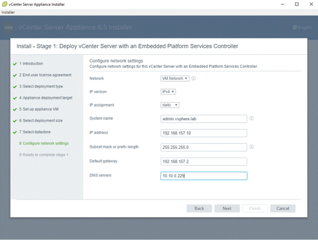 VMware - vCenter Server Appliance 6.5 Installer - Install - Stage 1 - Deploy vCenter Server with an Embedded Platform Services Controller - Configure Network Settings
