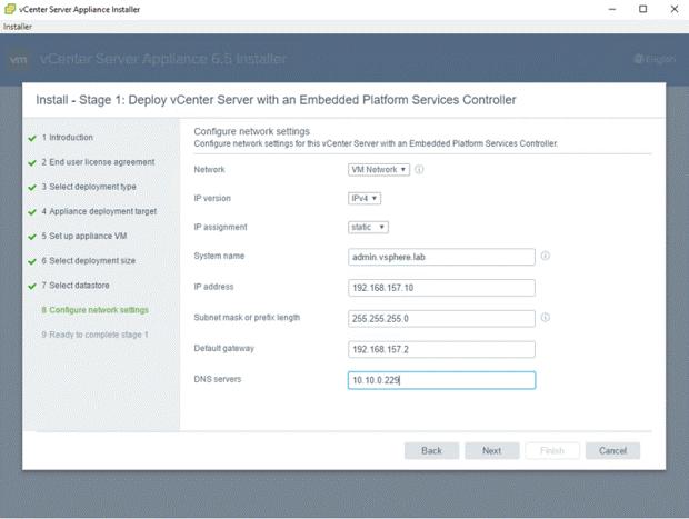 VMware - vCenter Server Appliance 6.5 Installer - Install - Stage 1 - Deploy vCenter Server with an Embedded Platform Services Controller - Configure Network Settings