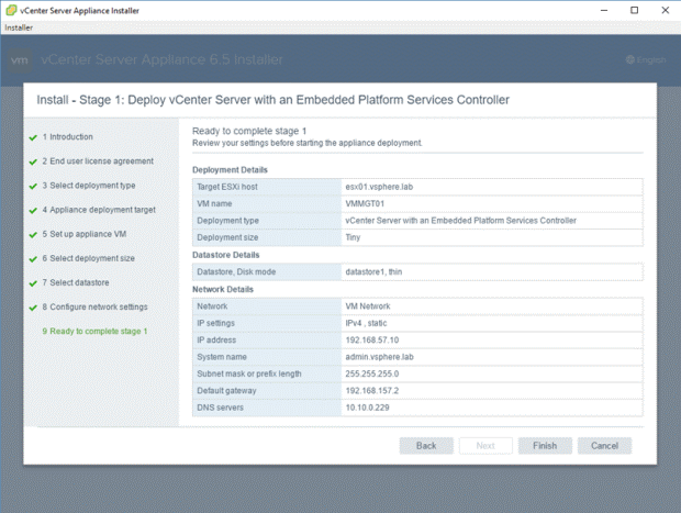 VMware - vCenter Server Appliance 6.5 Installer - Install - Stage 1 - Deploy vCenter Server with an Embedded Platform Services Controller - Ready to complete Stage 1