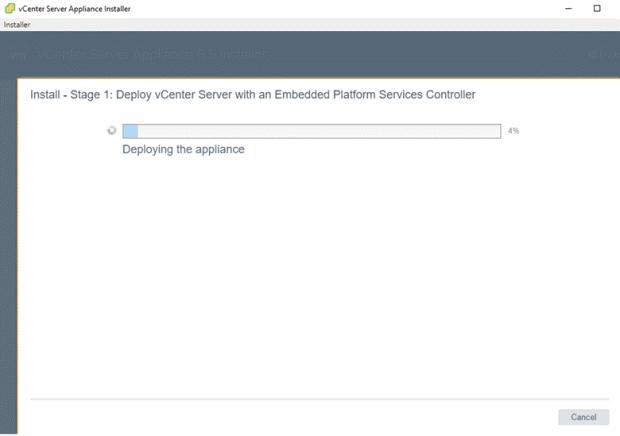 VMware - vCenter Server Appliance 6.5 Installer - Install - Stage 1 - Deploy vCenter Server with an Embedded Platform Services Controller - in Progress