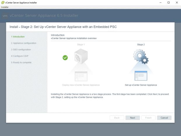 VMware - vCenter Server Appliance 6.5 Installer - Install - Stage 2 - Set Up vCenter Server Appliance with an Embedded PSC - Introduction