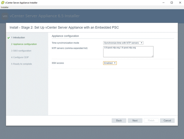 VMware - vCenter Server Appliance 6.5 Installer - Install - Stage 2 - Set Up vCenter Server Appliance with an Embedded PSC - Configuration