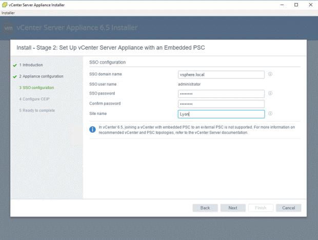 VMware - vCenter Server Appliance 6.5 Installer - Install - Stage 2 - Set Up vCenter Server Appliance with an Embedded PSC - SSO Configuration
