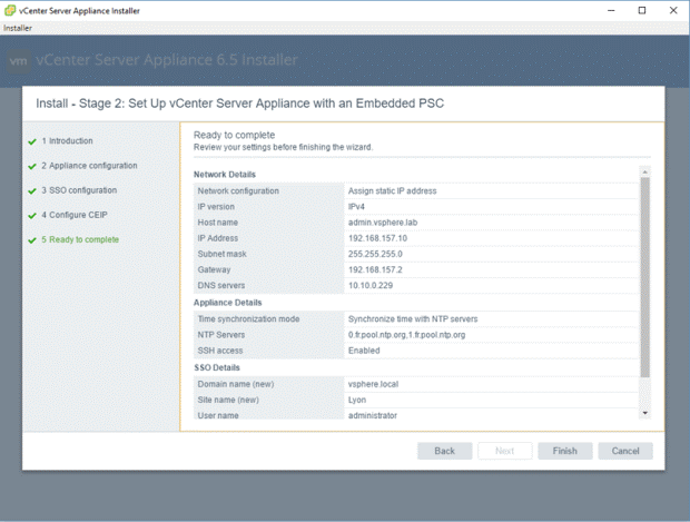 VMware - vCenter Server Appliance 6.5 Installer - Install - Stage 2 - Set Up vCenter Server Appliance with an Embedded PSC - Ready to Complete