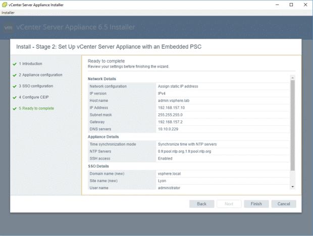 VMware - vCenter Server Appliance 6.5 Installer - Install - Stage 2 - Set Up vCenter Server Appliance with an Embedded PSC - Ready to Complete