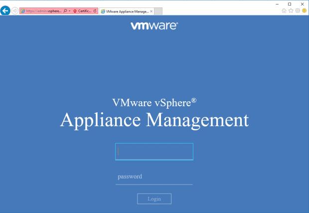 VMware vSphere Appliance Management - LogIn