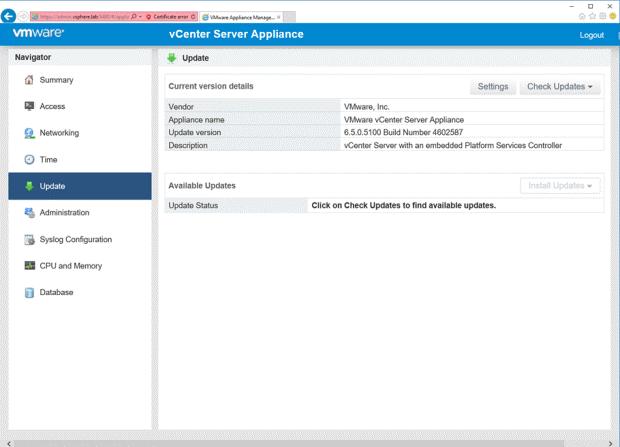 VMware - vCenter Server Appliance - Navigator - Update - Current version details
