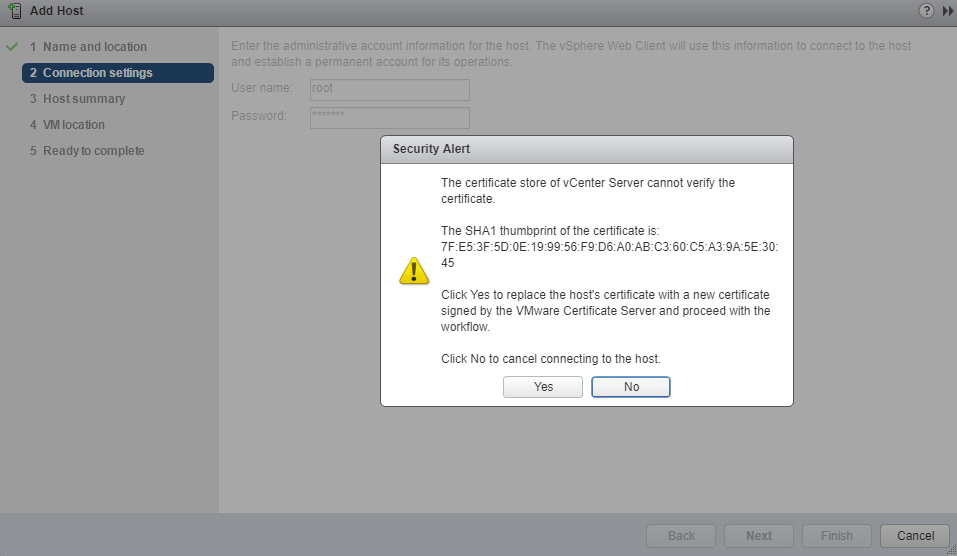 VMware - vCenter - Add Host - Connection Settings - Security Alert