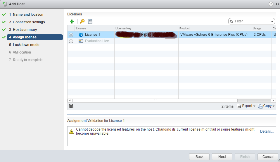 VMware - vCenter - Add Host - Assign License