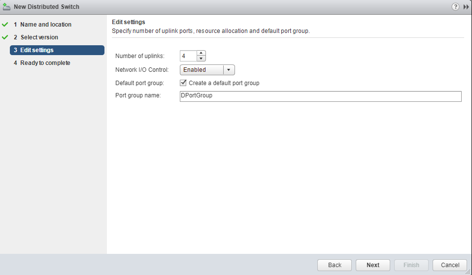 VMware - vCenter - New Distributed Switch - Edit Settings