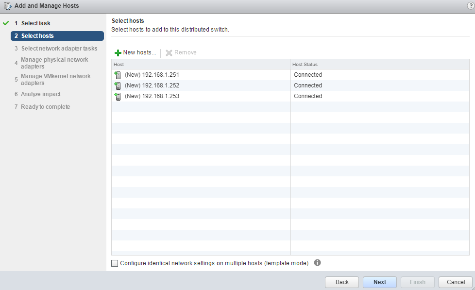 VMware - vCenter - Add and Manage Hosts - Select Hosts - Check and Next