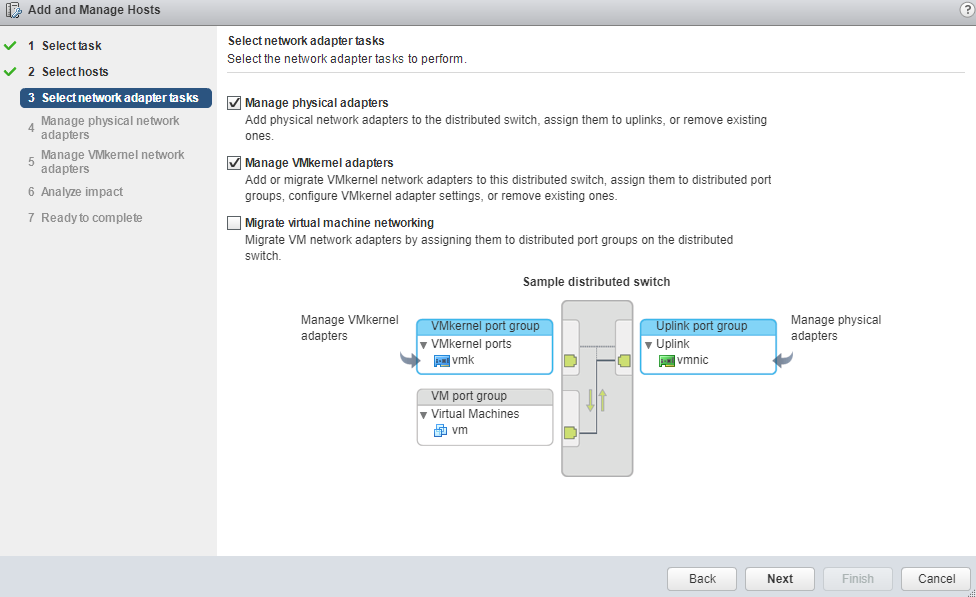 VMware - vCenter - Add and Manage Hosts - Select network adapter tasks
