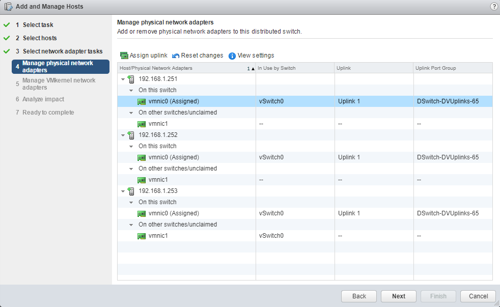 VMware - vCenter - Add and Manage Hosts - Manage physical network adapters
