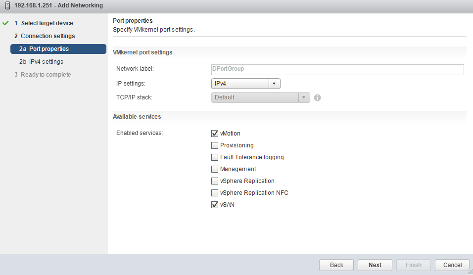 VMware - vCenter - Add and Manage Hosts - Manage physical network adapters - Add Networking - Connection Settings - Port properties