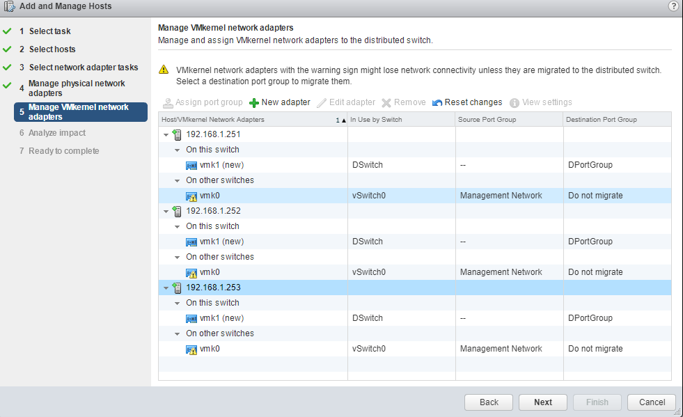 VMware - vCenter - Add and Manage Hosts - Manage VMKernel network adapters