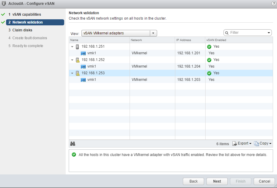 VMware - vCenter - Configure vSAN - Network Validation