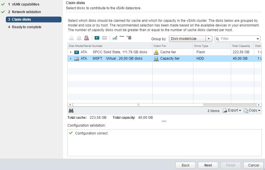 VMware - vCenter - Configure vSAN - Claim disks